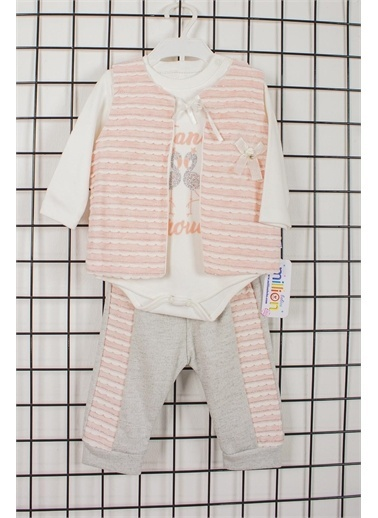 Pelops Kids Million Babies Yelekli Kız Bebek 3'lü Alt Üst Takım 2056 Bej